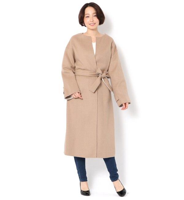 【アンドクチュール/And Couture】 ダブルフェイスノーカラーコート