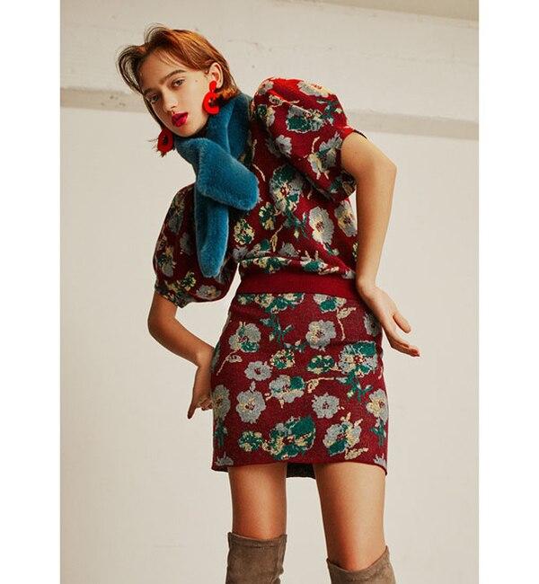 【レディアゼル/REDYAZEL】 ウール混オリジナル花柄ジャガードスカート
