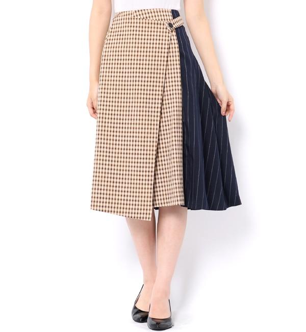【レディアゼル/REDYAZEL】 チェック×ストライプラップミモレ丈スカート