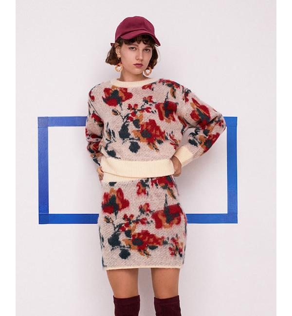 【レディアゼル/REDYAZEL】 モヘヤタッチ花柄ジャガードスカート