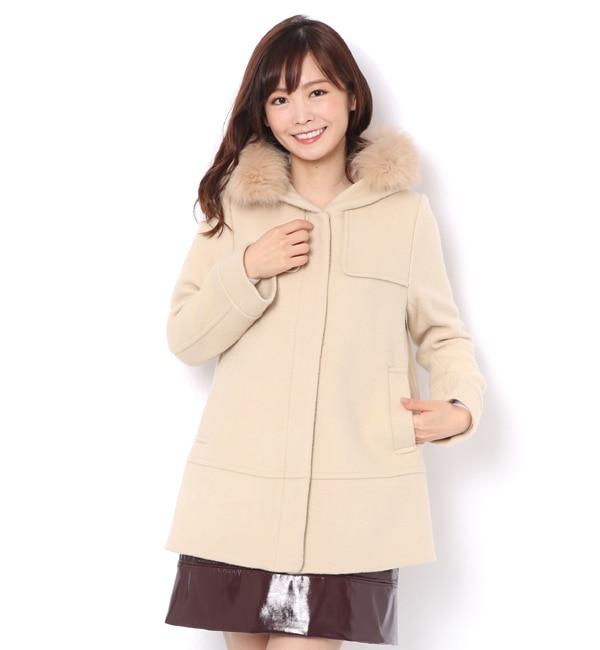【レディアゼル/REDYAZEL】 3wayリアルフォックスファーミディ丈コート