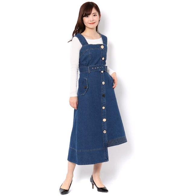 【レディアゼル/REDYAZEL】 フロントボタンデニムジャンパースカート