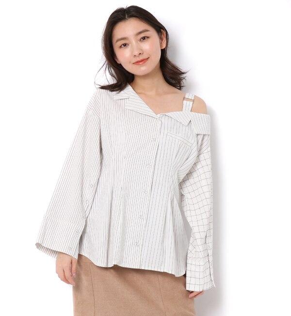 【レディアゼル/REDYAZEL】 ウエストタックワンショルBIGシャツ