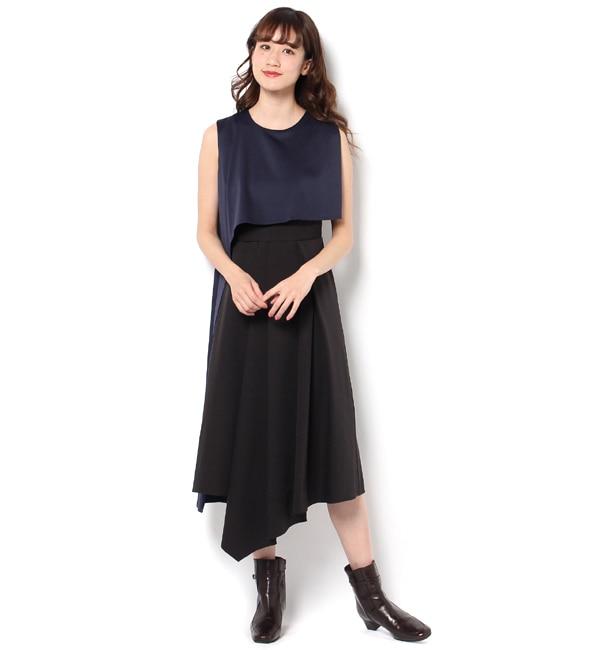 【アンティグラヴィテ/Antigravite】 配色切替ロングワンピース