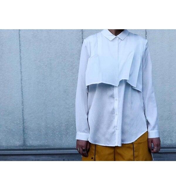 【アンティグラヴィテ/Antigravite】 サテン・タックシャツブラウス