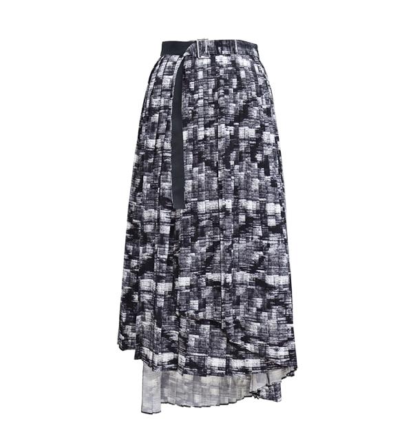 【アンティグラヴィテ/Antigravite】 デジタル幾何プリント・ティアードプリーツスリットスカート