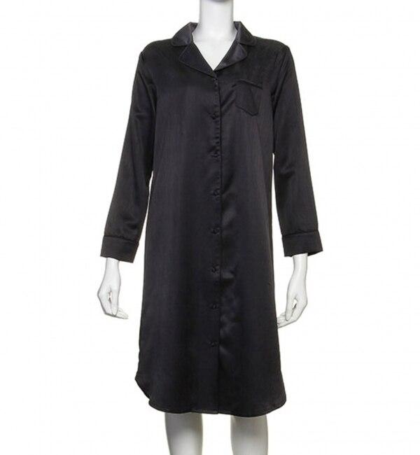 COTTON SATIN SHIRT DRESS (C184) ルームウエア / パジャマ コットン サテン【シュット インティメイツ/Chut! INTIMATES レディス ルームウェア ネイビー ルミネ LUMINE】