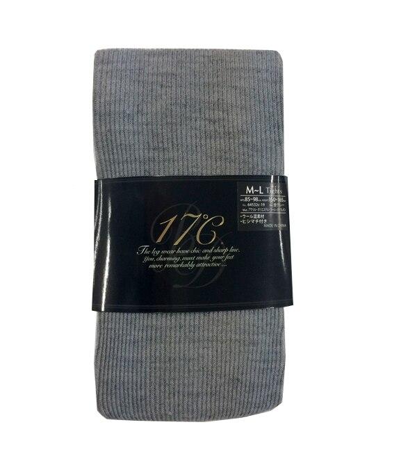 【ジュウナナドシー バイ ブロンドール/17℃ by Blondoll】 【タイツ】ウール混1×1リブ