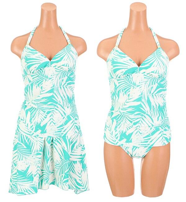 【サンアイリゾート サンアイミズギラクエン/San-ai Resort(三愛水着楽園)】 【Coral veil Cruise】スカート付きリーフ柄タンキニ