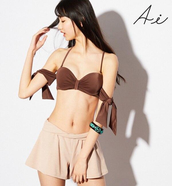 【サンアイリゾート サンアイミズギラクエン/San-ai Resort(三愛水着楽園)】 【Ai Pink】ツイストウエストフレアショートパンツ